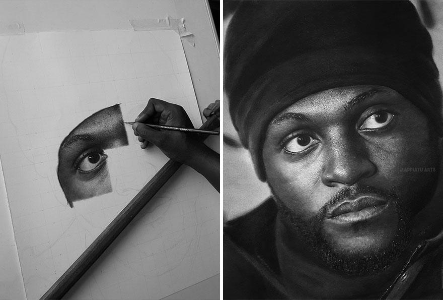فنان يرسم صور واقعية باستخدام الفحم و قلم الرصاص