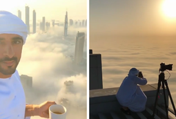 ولي عهد دبي يلتقط صور لمدينته فوق الغيوم بطريقة مدهشة