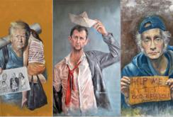 سلسلة الضعف - رسومات من الفنان السوري عبد الله العمري تصور قادة العالم في حالة التشرد وفقا لما قامو به من افعال