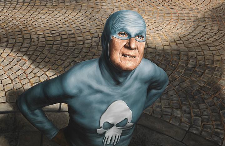 حياة وزمن بطل خارق مسّن مرسومة بلوحات زيتية للفنان أندرياس إنغلند