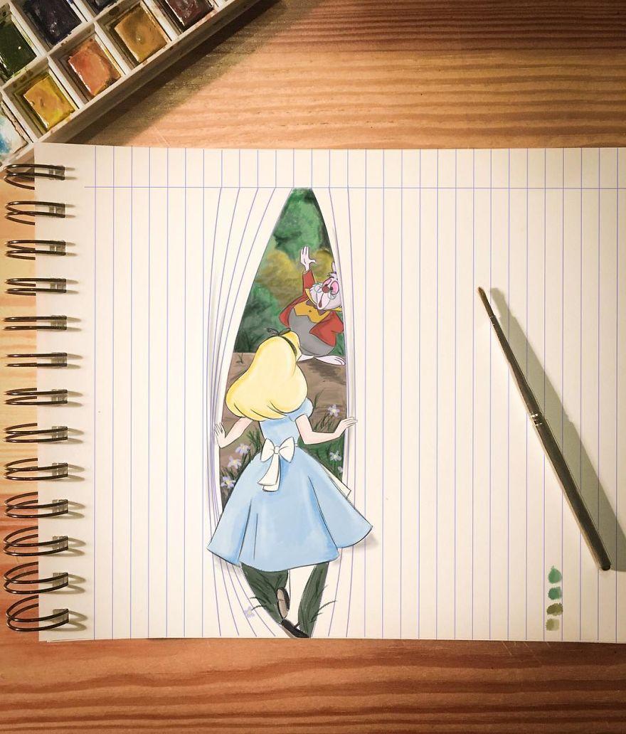 فنان يدمج بين الرسم والواقع في 30 لوحة فنية
