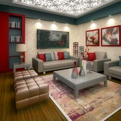 تصميم داخلي لغرفة معيشة