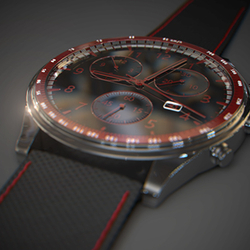 Macro Black and red watch