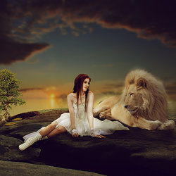 Making Girl & Lion Photo Manipulation Scene Effect In Photoshop