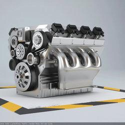 Car engine 8 cylinders 3d modeling