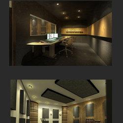 تصميم ستوديو صوت لاذاعة محلية اردنية بالاضافة الى غرفة التحكم ..