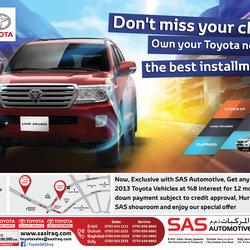 TOYOTA SAS Iraq - Installment ad