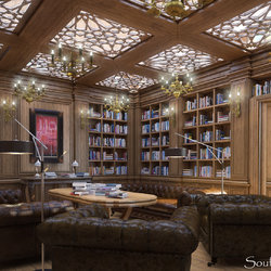 Classic-library-room-design-with-wooden-theme
