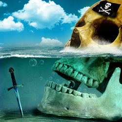جمجمة في البحر