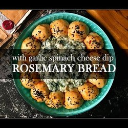 Rosemary bread with spinach cheese dip