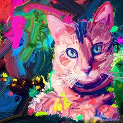 Digital Painted Cat