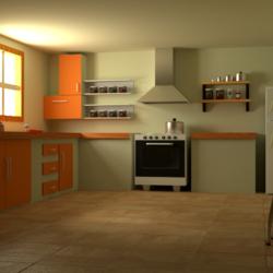 تصميم مطبخ ثلاثى الأبعاد
