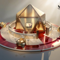 Golden Exhibition Booth. 3d Visualizer (freelancer) - UAE,Dubai.