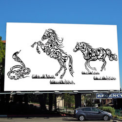 Caligraphic horses composition
