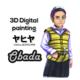 Damaskus characterdesign with 3D Digital panting