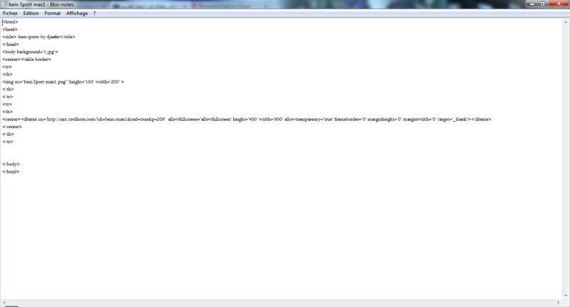 لغة HTML لقناة بين سبورت ماكس 1