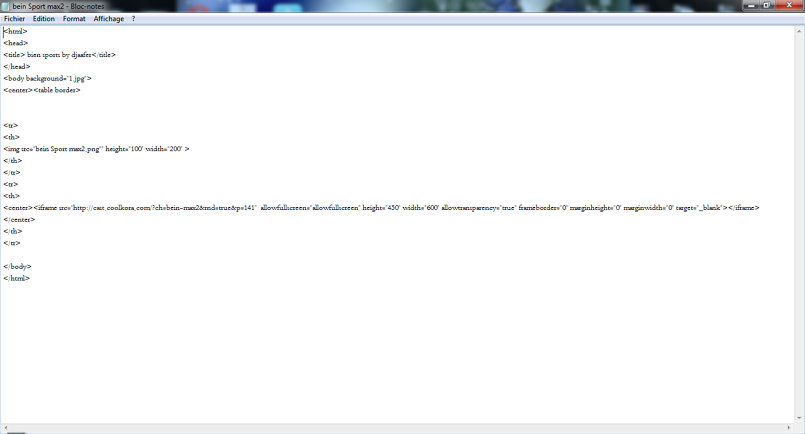 لغة HTML لقناة بين سبورت ماكس 2