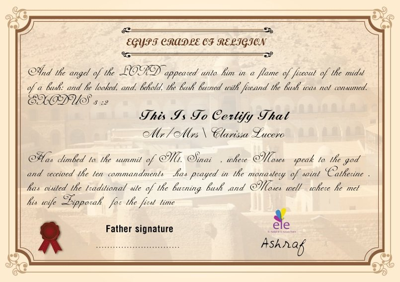 Travel Certificate To Sant catrien