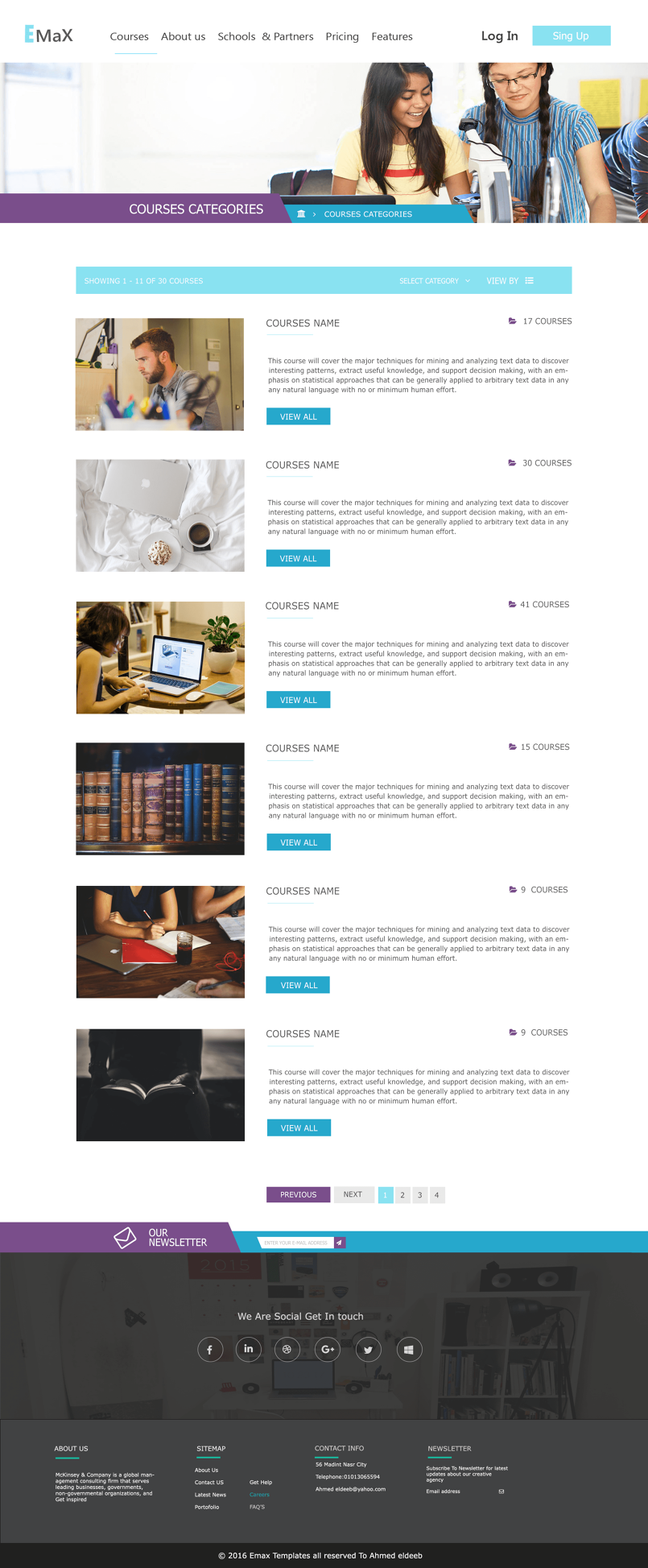 Emax courses -website template