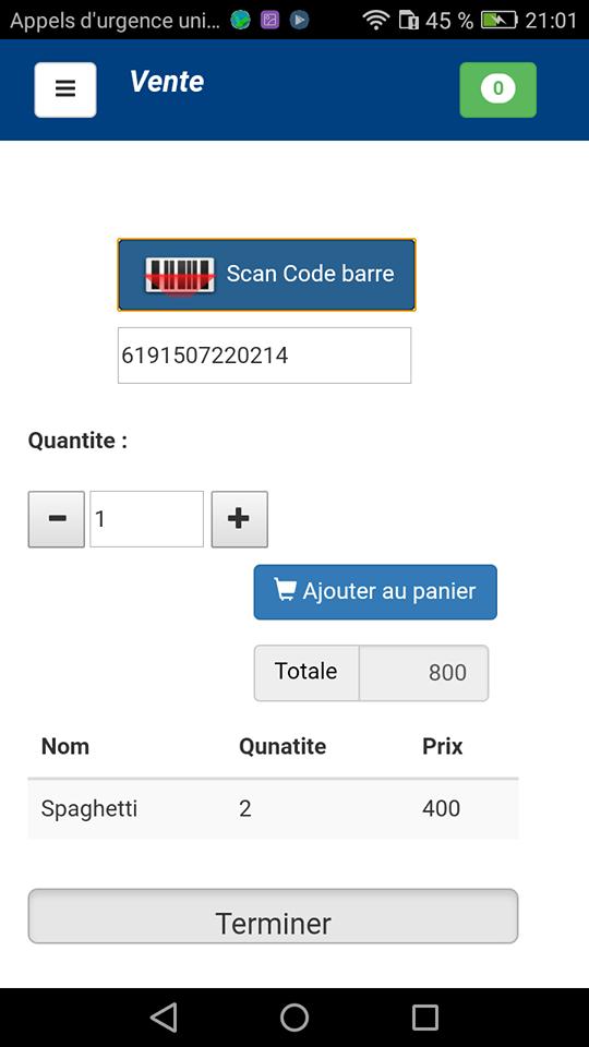 application de vente avec scan de code à barre