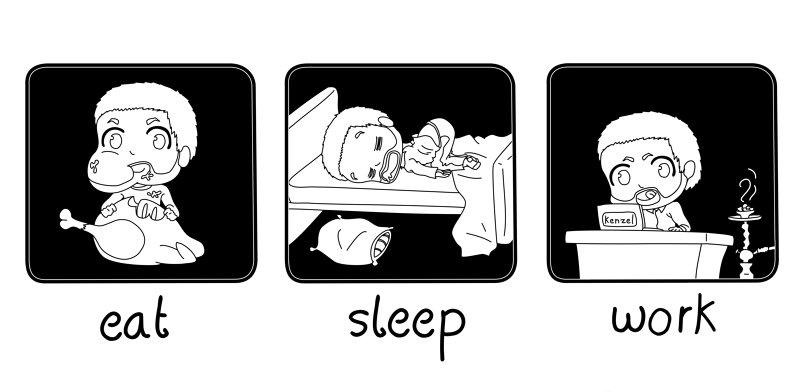 eat - sleep - work