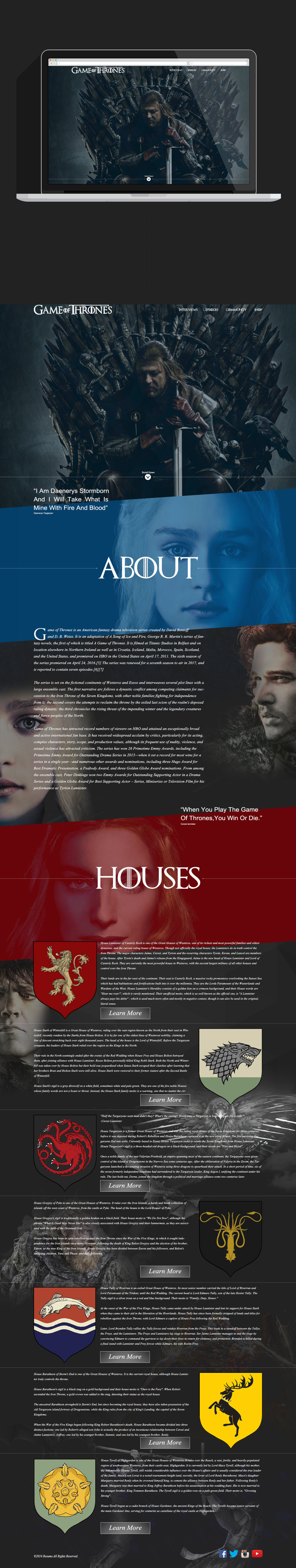 game of thrones website redesign concept