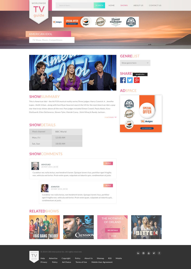 Tv Guide Web Template