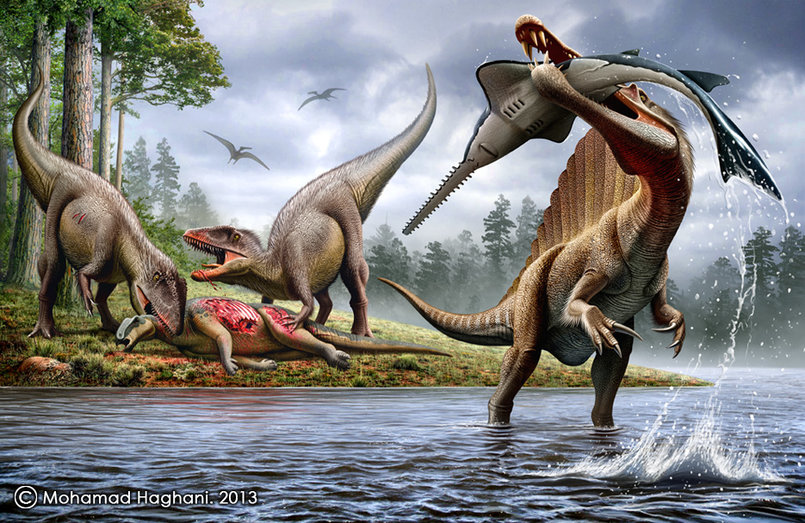 Spinosaurus VS Onchopristis &  Carcharodontosaurus VS Ouranosaurus