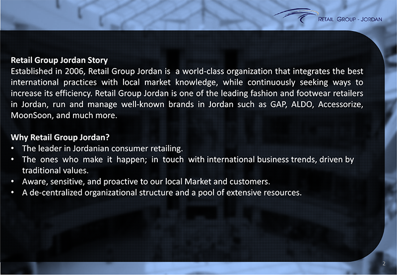 Retail Group Jordan Company Profile