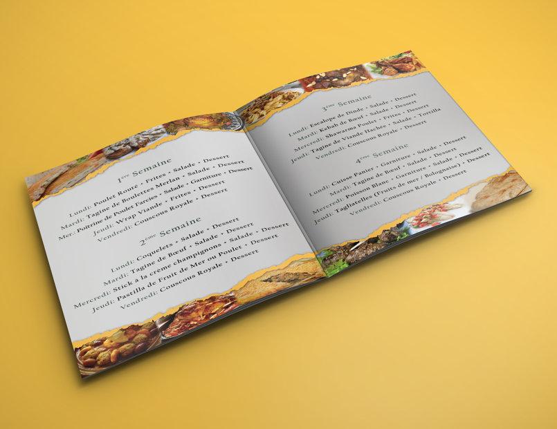 الواجهة الداخلية لقائمة الطعام الشهرية
