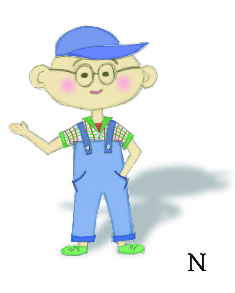 تصميم مبدأي شخصية كرتونية طفل عبقري
