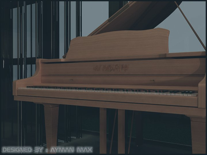 piano model i used 3ds max , v-ray and photoshop to make the view as a game view