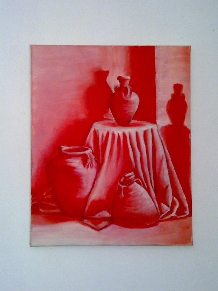 طبيعة صامتة - ألوان زيتية على قماش - الرسم بلون واحد (الأحمر ماجنتا) ودرجاته - الحجم 40×60.