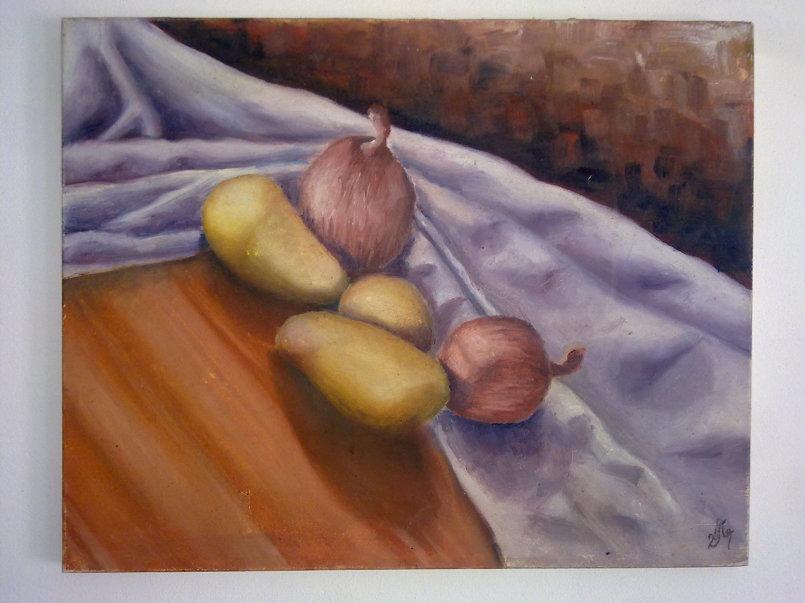 طبيعة صامتة بطاطا وبصل - ألوان زيتية على قماش - الحجم 40×60.