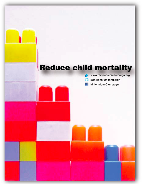 """  Reduce Child Mortality  poster ""  . reducing the number of cubes in the poster represents reducing the child mortality."
