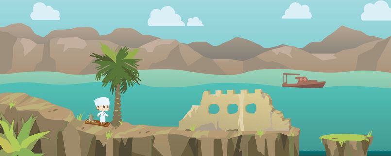 Designed some forts , mountains & date palms.