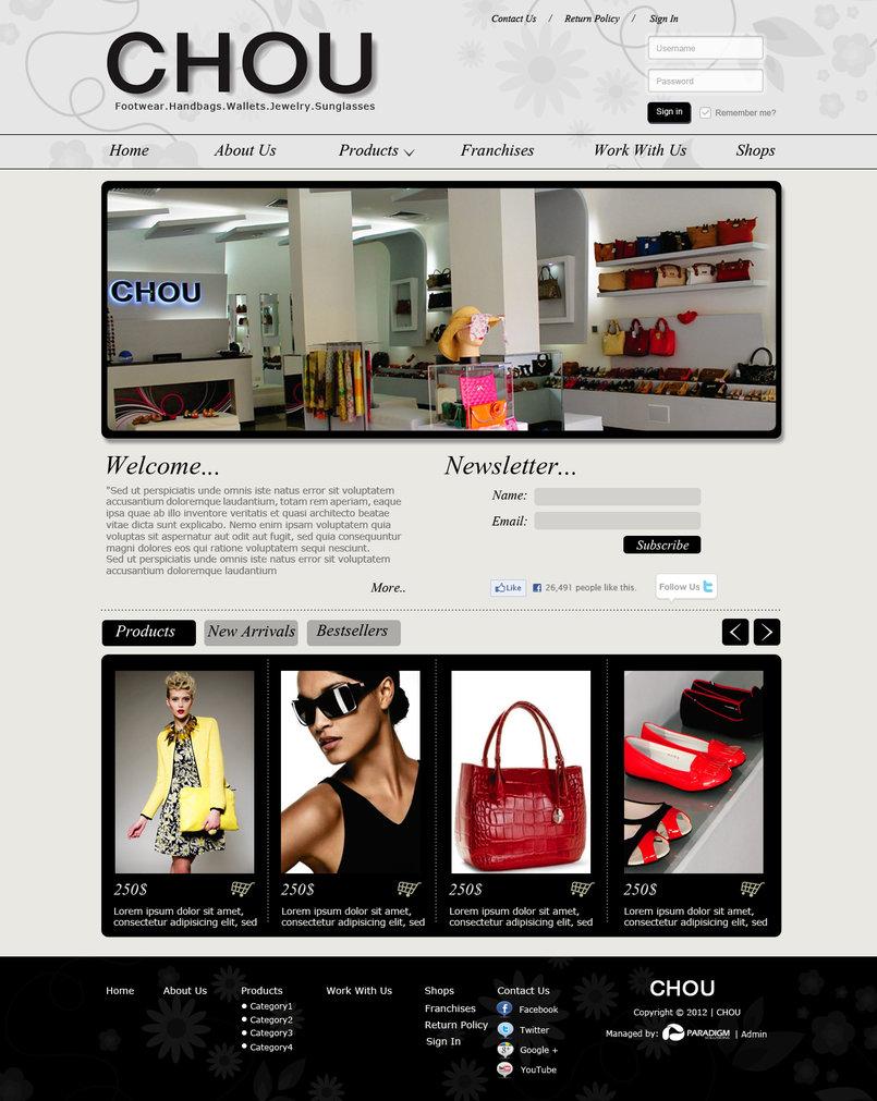 تصميم موقع متجر احذية نسائية