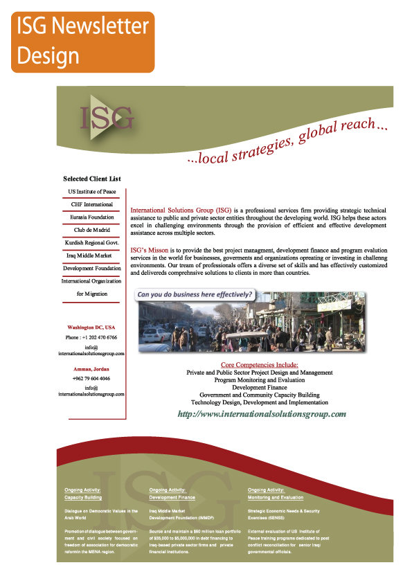 ISG newsletter design