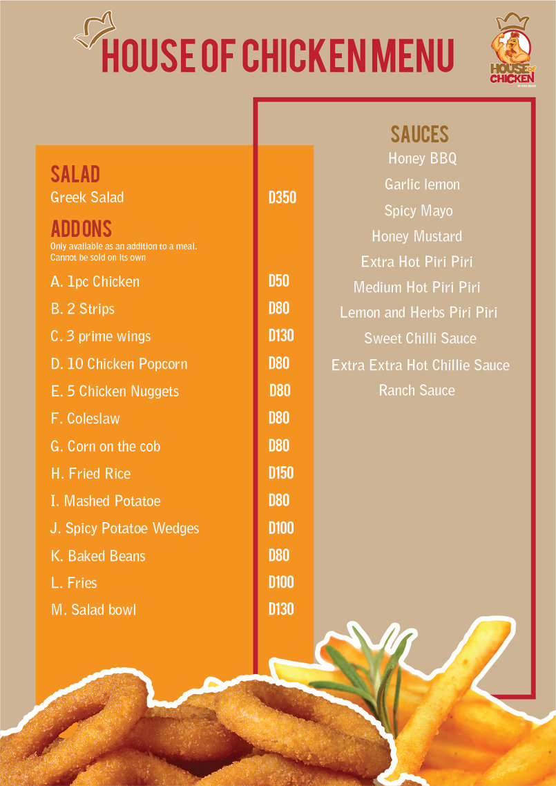 Food menu for House of Chicken in The Gambia