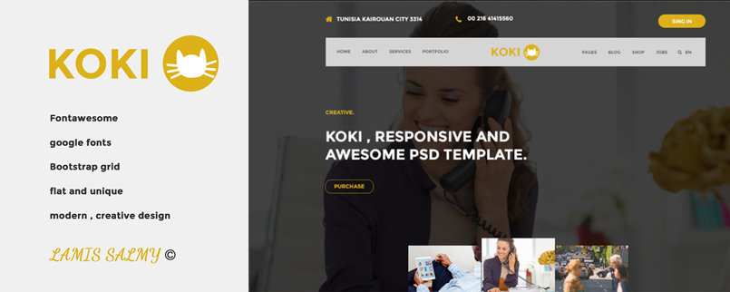 KOKI _ Flat one page PSD Template