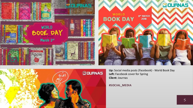 Up: Social media posts (Facebook) - World Book Day Left: Facebook cover for Spring Client: Journas
