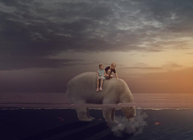 Bear Under Water