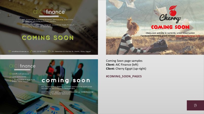 Coming Soon page samples Client: AIC Finance (left) Client: Cherry Egypt (up-right)