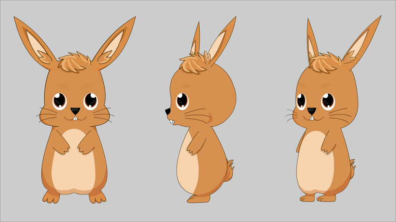 Usagimon(The Rabbit): A very inquisitive and ambitious rabbit that got lost in a scary forest and made a new friend that helped him from the rain.