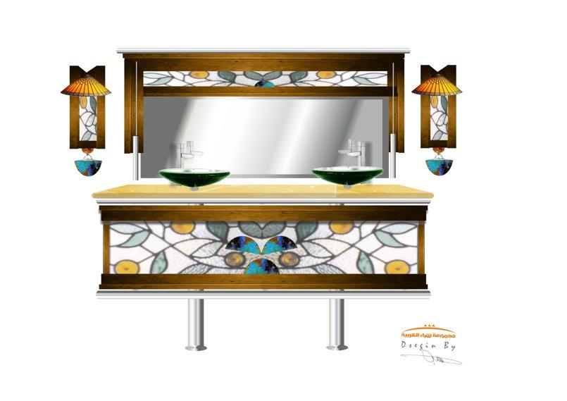 مغاسل 2حوض زجاج معشق ملون ورخام صناعى وحدات اضاءة وخشب بيتش باين