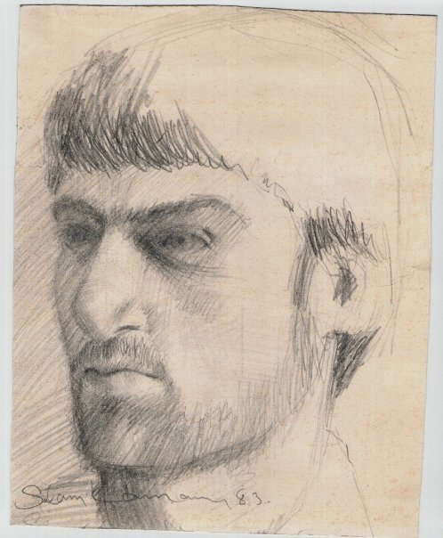 self portrait 1983 drawing in pencil