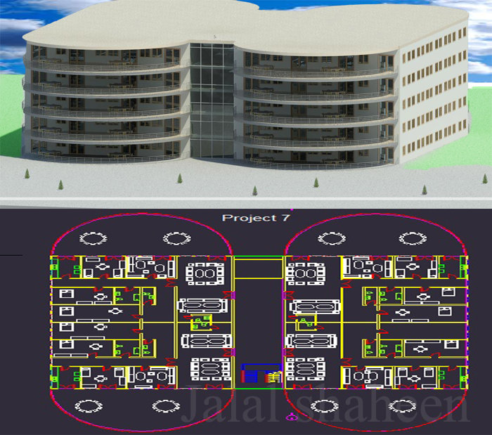 تصميم عمارة من خمس طوابق
