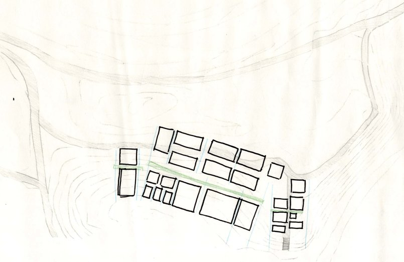 concept in relation to topography and entries into the site