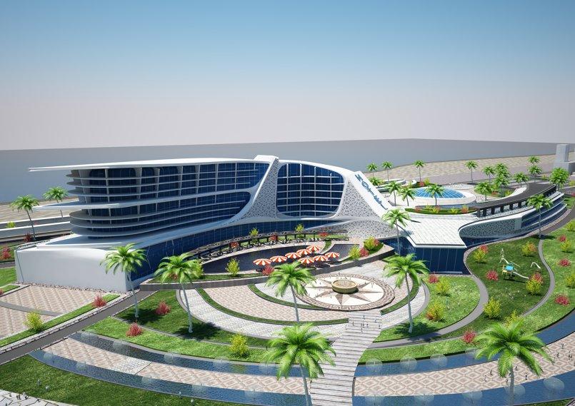 تصميم معماري لفندق و مول تجاري