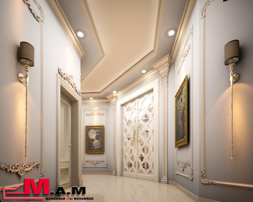 الممر المؤدي للحمام والمغاسل / The corridor leading to the bathrooms and washbasins